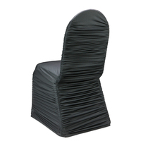 50pcs Wrinkled Chair Cover Elastic Ruffled Stretch Spandex Solid Color Dining Room Event Hotel Wedding Banquet