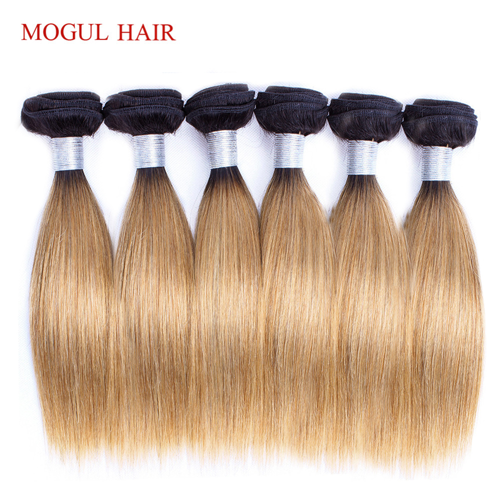 MOGUL HAIR 6 Bundles 50g/pc 1B 27 Dark Root Honey Blonde Ombre Peruvian Straight Remy Human Hair Natual Color Brown Bob Style(China)