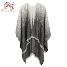 083a75b1d36622 Fashion Stole Cashmere Knitted Poncho Wraps Pashmina Women Winter Scarf  Striped Tassel Sweater Warm Shawl Scarves