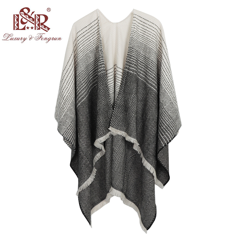 Fashion Stole Cashmere Knitted Poncho   Wraps   Pashmina Women Winter   Scarf   Striped Tassel Sweater Warm Shawl   Scarves   for Ladies