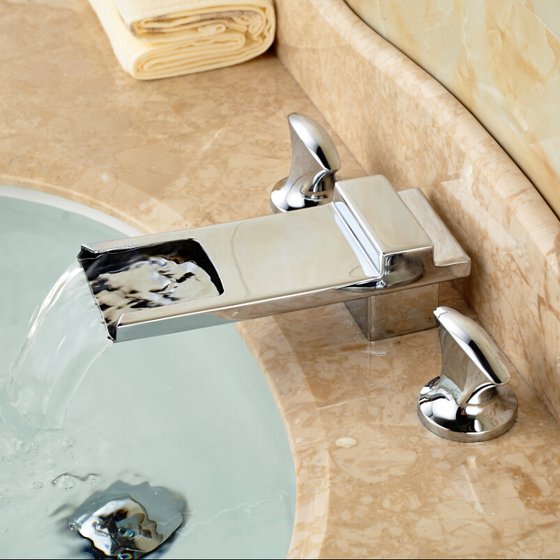 Good Quality Two Cristal Handles Bathroom Sink Bain Faucet Waterfall Vanity Sink Mixer Taps Chrome Finish