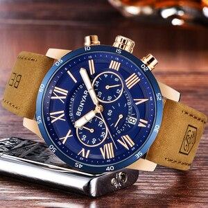 Image 5 - ساعة يد رجالي موضة BENYAR باللون الأزرق من أفضل الماركات الفاخرة لعام 2019 ساعة كوارتز للرجال كرونوغراف من الجلد