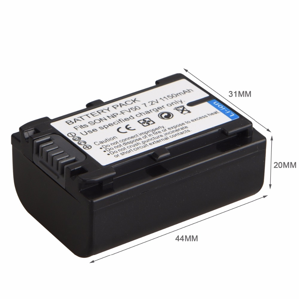 1150 mAh Batterie Pour Sony NP-FV30 NP-FV50 FV50 FV70 FV90 FV100 FV120 HDR-SR68 DCR-SX85 DCR-SR20E DCR-SR21E HDR-CX190 CX130