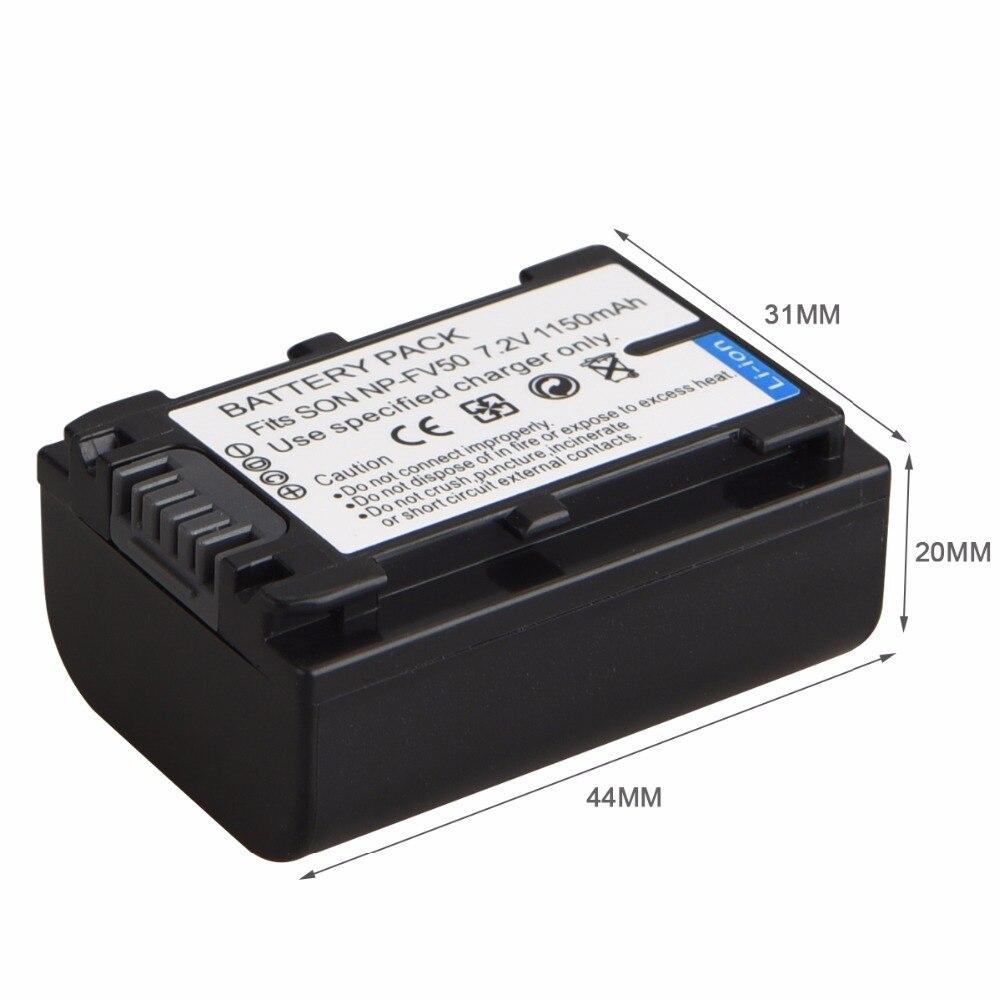 1150 mAh NP-FV50 batería para Sony NP-FV30 FV50 FV70 FV90 FV100 FV120 HDR-SR68 DCR-SX85 DCR-SR20E DCR-SR21E HDR-CX190 CX130