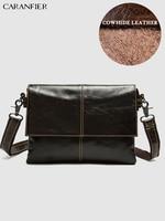 CARANFIER Mens Travel Bags Genuine Cowhide Leather Flap Pocket Casual Male Shoulder Messenger Bags Double Zipper Crossbody Bags
