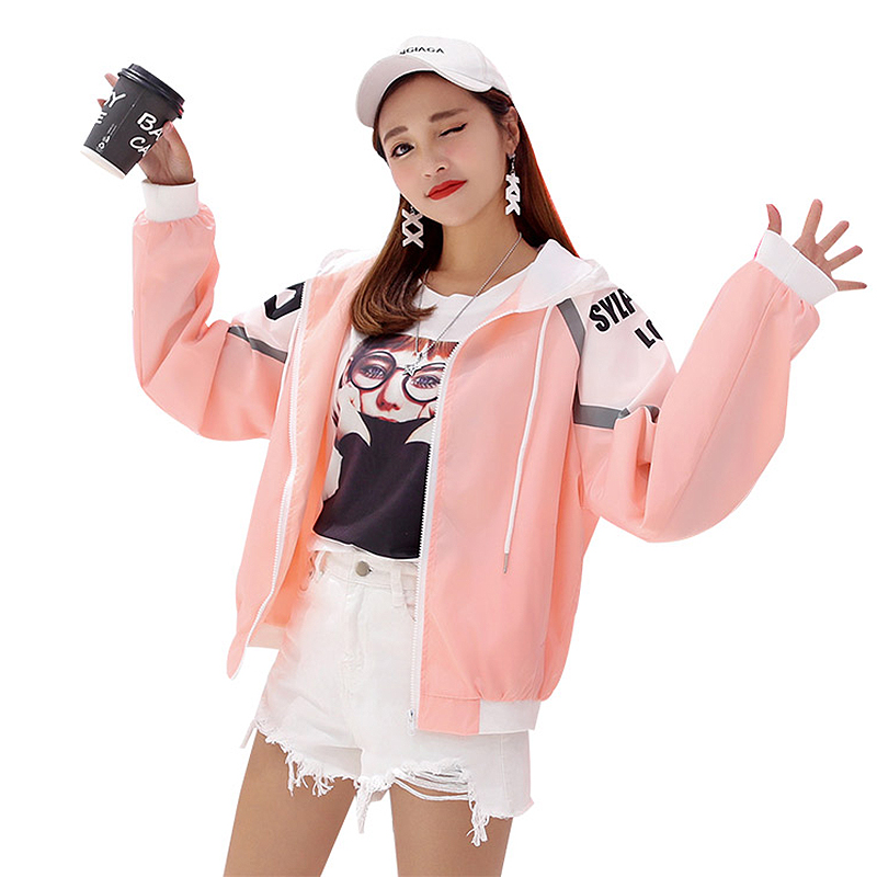 2019 Casual Windbreaker   Jacket   Women Harajuku Loose Print Thin Hooded   Basic     Jackets   Zipper Pockets Coat Plus Size chaqueta mujer