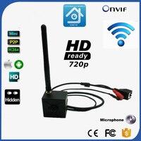 720 P 1.0MP H.264 Onvif P2P Mini IP Fotocamera foro di Perno HD Wifi IP Camera Wireless P2P Plug Gioca 3.7mm Lente MP Supporto microfono