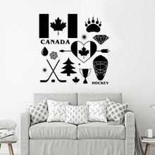 Country Canada Signs Wall Decal Hockey Symbol Vinyl Wall Mural Removable Canada Wall Poster Home Decoration DIY Pattern AY1626 все цены