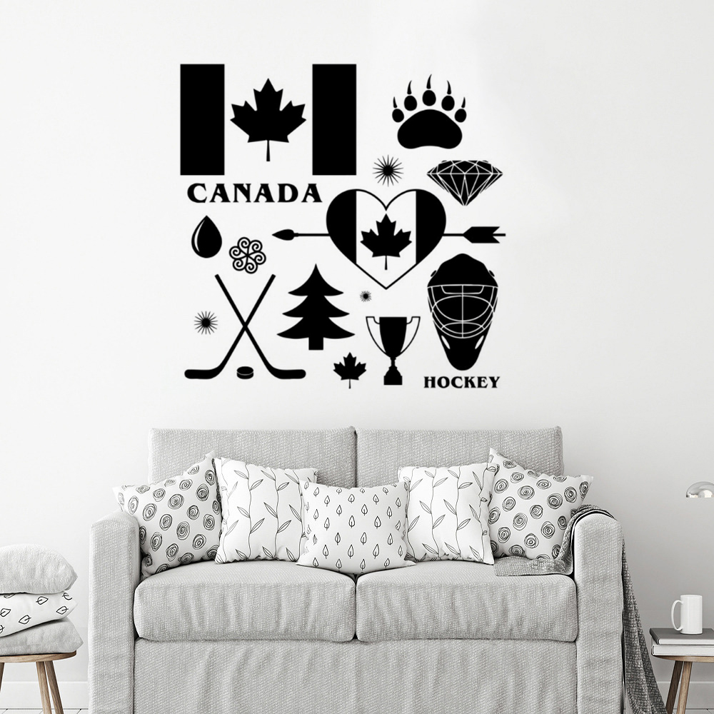 Country canada signs wall decal hockey symbol vinyl wall mural removable canada wall poster home decoration diy pattern ay1626