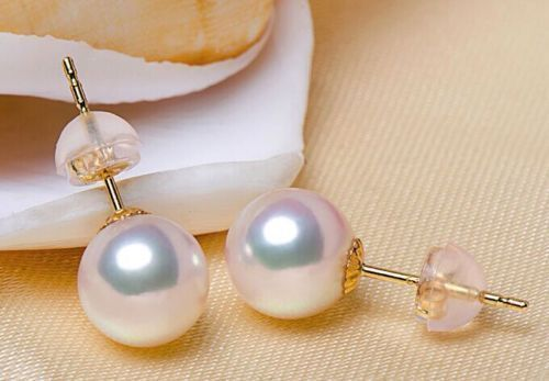 AAA 10-11mm Akoya white pearl earrings 14K Yellow Gold push backing 1