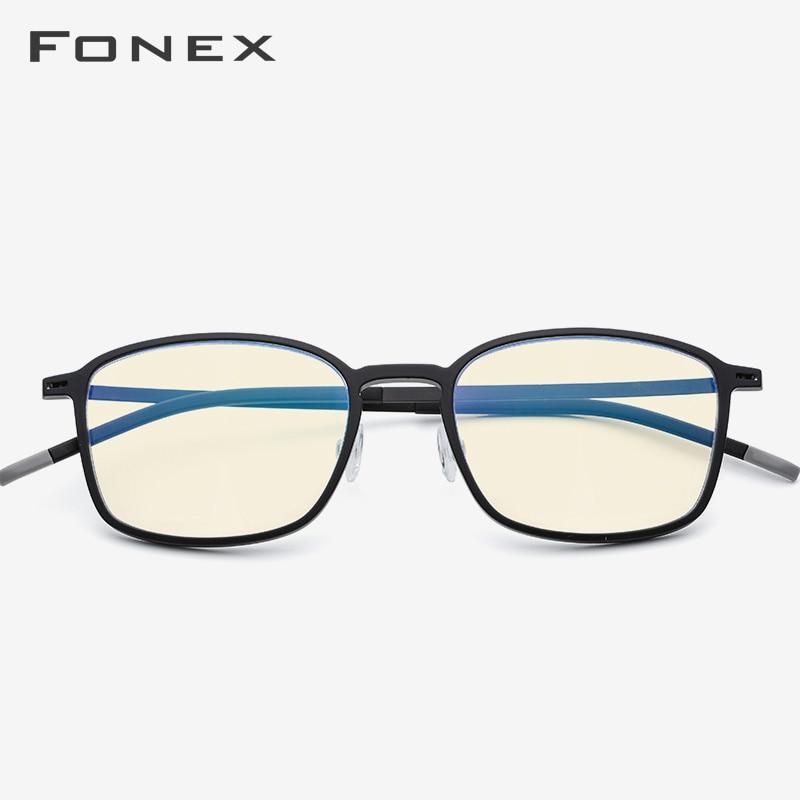 FONEX TR90 Anti Blue Light Glasses Frame Men Radiation Protection Spectacles Square Gaming Computer Eyeglasses For Women AB01