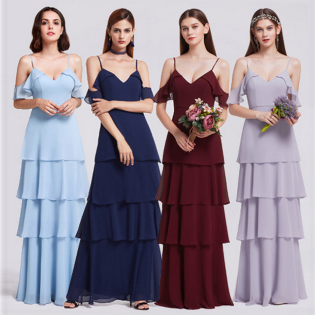 Bridesmaid Dresses Ever Pretty V neck Ruffles Adjustable Spaghetti     Bridesmaid Dresses Ever Pretty V neck Ruffles Adjustable Spaghetti Straps Cold  Shoulder Tiered Chiffon Party