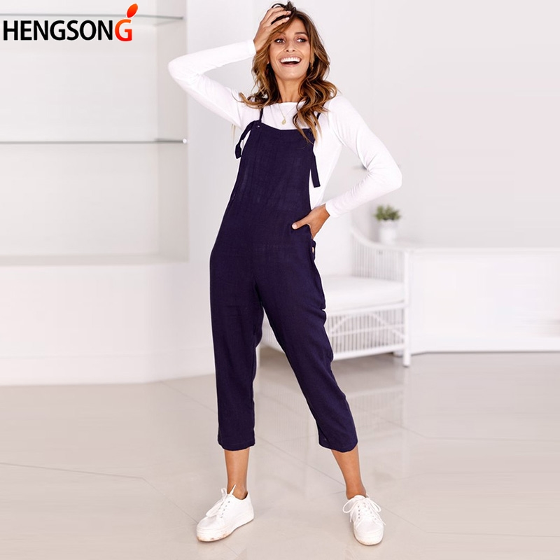2020 New Spring Autumn Overalls For Women Spaghetti Strap Wide Legs Jumpsuit rompers Casual calf length Jumpsuit Pants