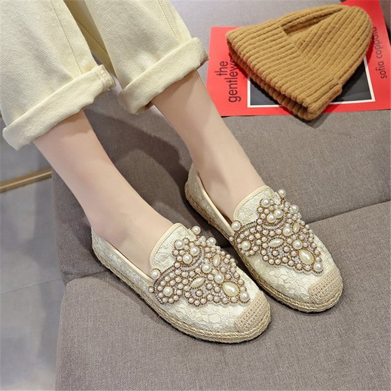 New Flat Shoes Women Fisherman Loafers with Pearl Decor Spring Summer Breathable Mesh Slip-on Casual Footwear Ladies Stylish 3