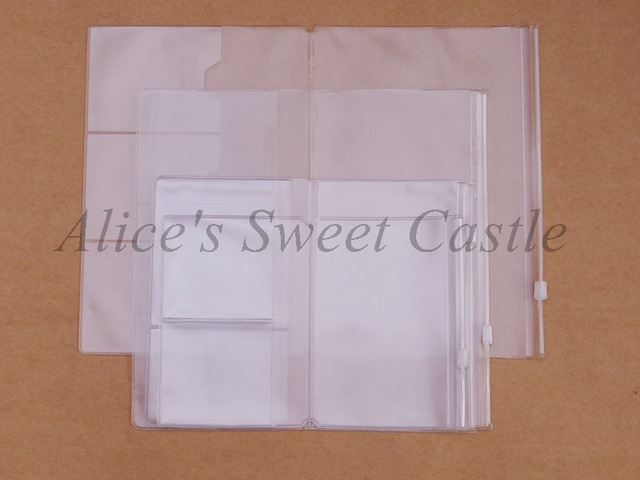 Pvc Zipper bag FOR Traveler's Notebook Accessory card pocker bag storage A5/Standard/Pocket/Passport  4size for cowhide diary
