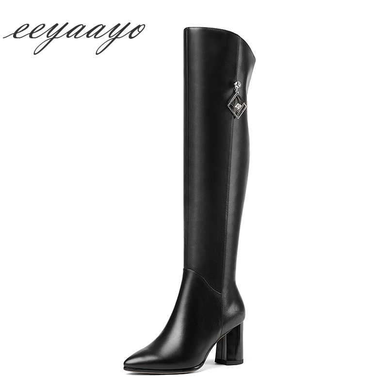 f1e373352c9 2018 New Genuine Leather Winter Women Over-The-Knee Boots High Heel Pointed  Toe Zipper Sexy WomenShoes Black Thight High Boots