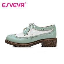 ESVEVAฤดูใบไม้ผลิ/ฤดูใบไม้ร่วงผู้หญิงรองเท้าสีผสมลูกไม้ขึ้นรอบนิ้วเท้าสแควร์ส้นตื้นปากฟอร์ดขนาดรองเท้า33-43สีเบจ