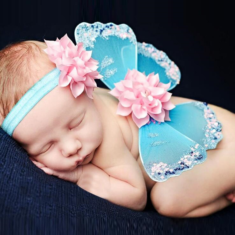 Lovely Newborn Baby Butterfly Wings Flower Headband Outfit Set Infant Girls Photography Props Birthday Party Gift Halloween