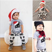 Newborn Baby Boy Clothing Set Christmas Infant Boy Clothing 2pcs Tshirt+Pants Baby Boy Sets Thanksgiving Baby Outfit