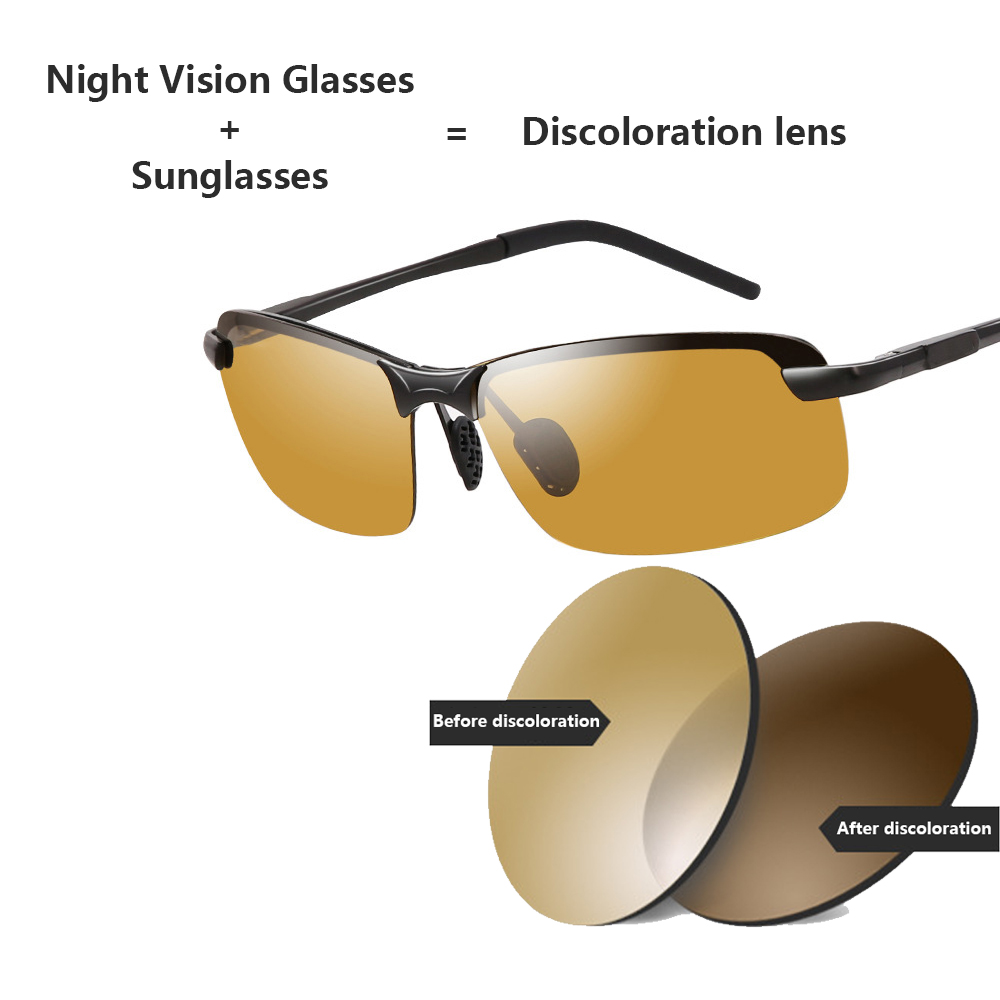 2018 Night Vision Glasses Polarized Sunglasses Men Fashion Night Vision Driving Sunglass Sun Glasses Male Eyewear Day and Night-in Driver Goggles from Automobiles & Motorcycles