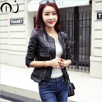 2017 1 Pcs Vintage PU Leather Jacket Women Slim Biker Motorcycle Soft Outwear Faux Leather Zipper