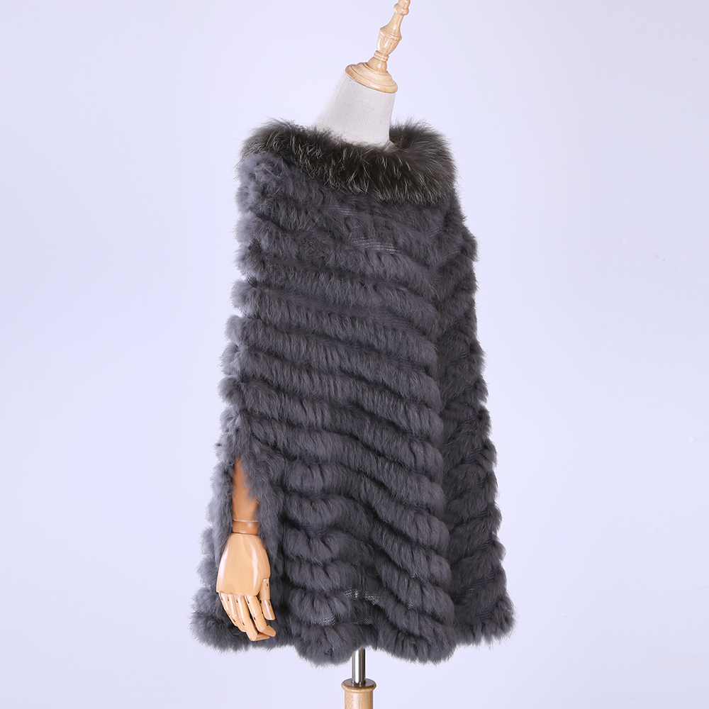 2019 New Women's Luxury Pullover Knitted Genuine Rabbit Fur Raccoon Fur Poncho Cape Real Fur Knitting Wraps Shawl Triangle Coat