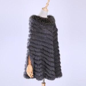 Image 1 - Jersey de lujo para mujer, Poncho de piel de mapache y conejo auténtico tejido de pieles, chal, abrigo triangular, 2020