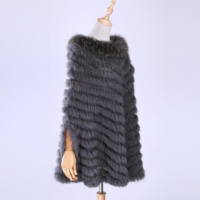 Jersey de lujo para mujer, Poncho de piel de mapache y conejo auténtico tejido de pieles, chal, abrigo triangular, 2020
