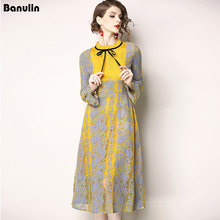 Banulin New Fashion 2018 Autumn Runway Dress  Womens Flare Sleeve Stand Neck Elegant Embroidery Hollow Out Lace