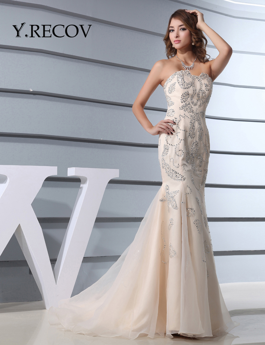 Mermaid Prom Dresses 2017 YD2198 Sweetheart Beading Champagne ...