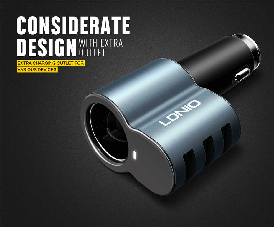 LDNIO Car charger with cigratte socket (2)