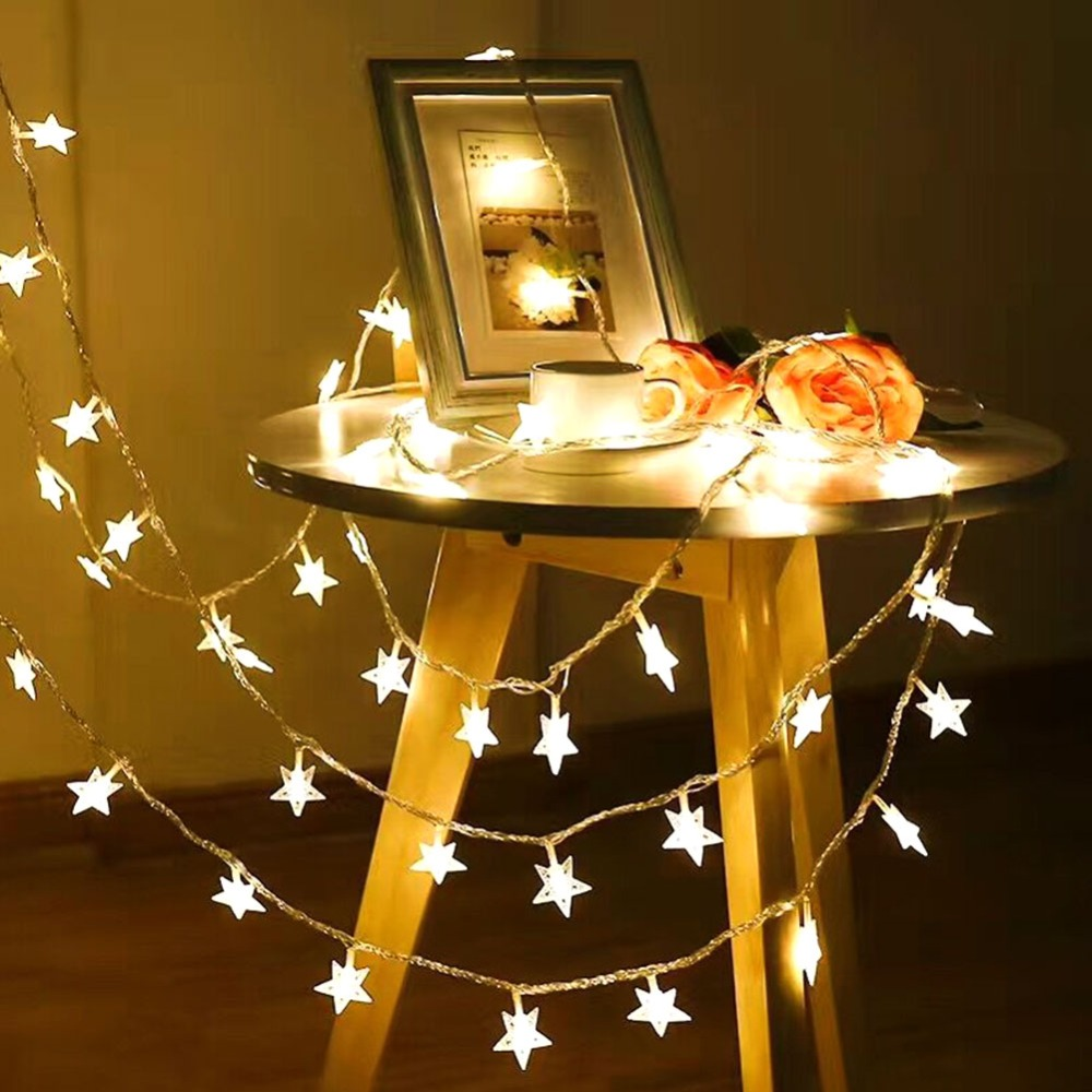 2018 new year 3m 6m 10m led star string lights fairy garland waterproof for christmas wedding home decoration battery powered 1.5m/ 3m/ 6m LED Star String Lights LED Fairy Lights Christmas Decoration Garland With Remote for Wedding Party Holiday Ligthing