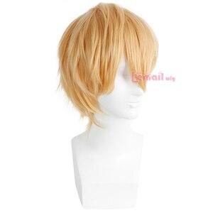 Image 3 - L email peruk Yepyeni Erkek Peruk 32 cm/16.6 inç Kısa Sarışın Isıya Dayanıklı Sentetik Saç Peruk erkekler Cosplay Peruk