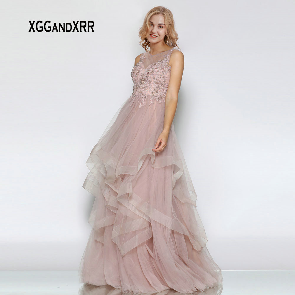 New Arrival O Neck Tulle Long   Prom     Dress   2019 Pearls Lace Applique Ruffles Evening   Dress   Sexy Zipper Backless Formal Party Gown