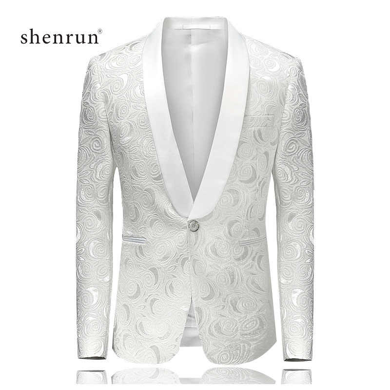 Shenrun 男性ブレザーカジュアルスリムフィット男白ジャケットスーツ結婚式ショールラペルタキシードパーティーウエディングコスチュームプラスサイズブレザー