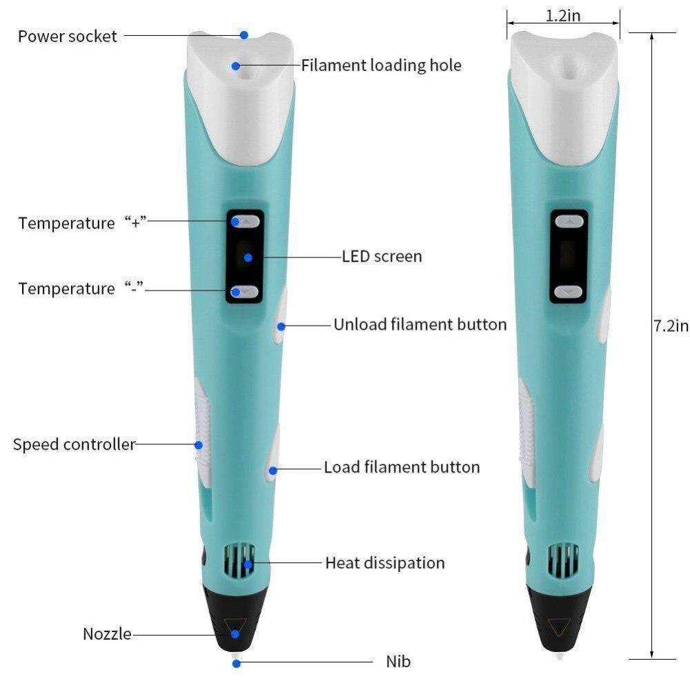 Dikale Lapiz 3D Printing Pen 2nd Generation Impresora 3D Imprimante Caneta Pencil PLA Filament for Kid Adult DIY Birthday Gift