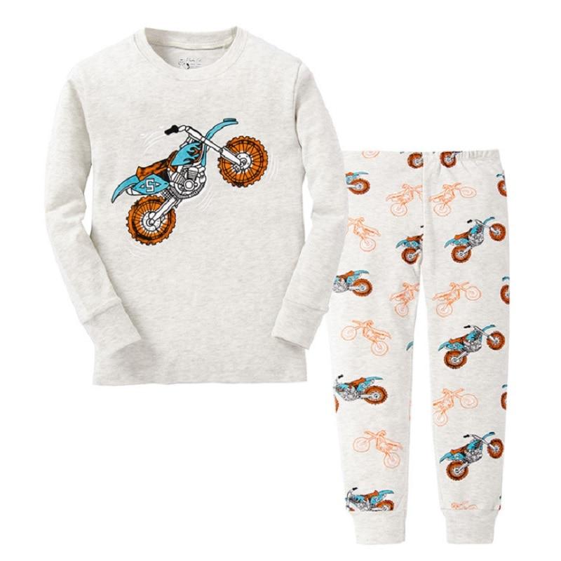 Digger Vehicle Baby Boys Clothes Suits 100% Cotton Children Pajamas Kids Sleepwear Sets Nightgown PJ'S Long Tees Shirts Pant Set 3