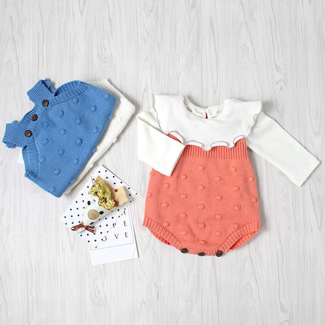 d510a827f8a4 placeholder Soft Crochet Romper Spring Baby Knitted Romper Sleeveless Cotton  Plaid Overall Infant Onesie Playsuit D0142