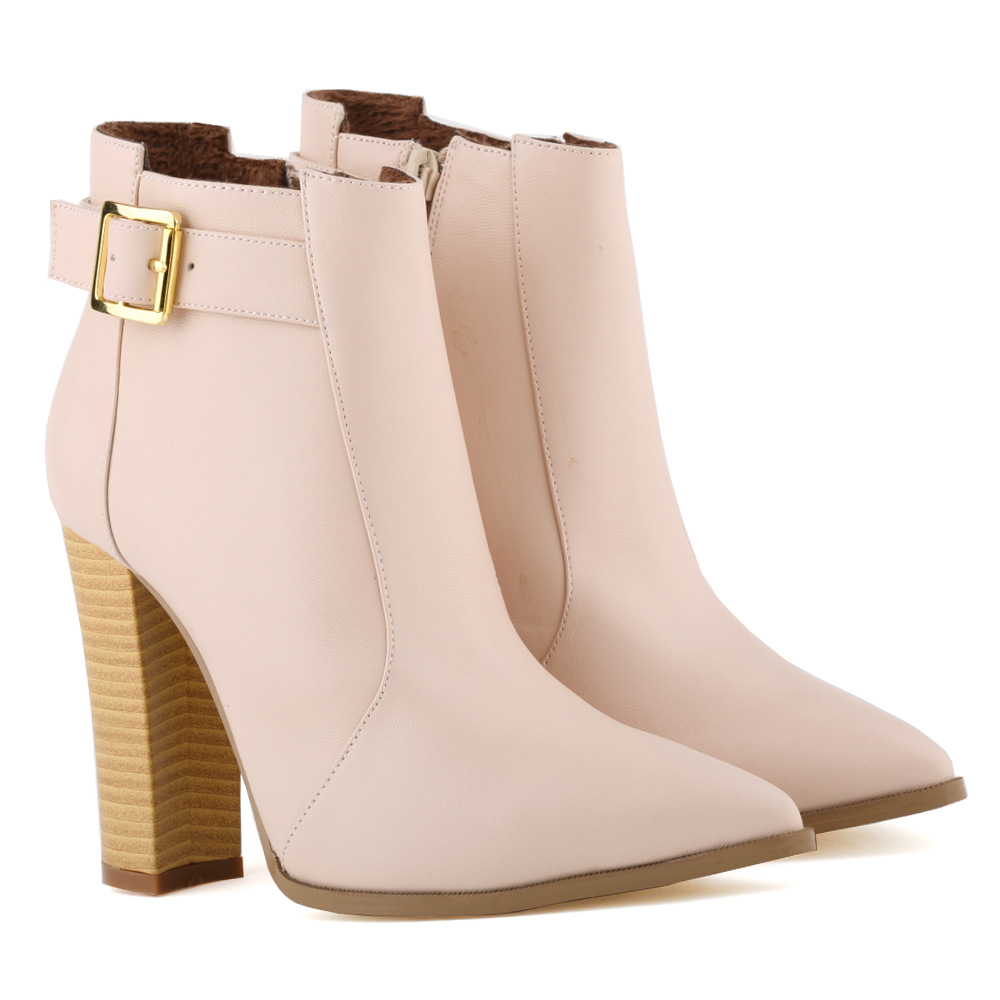 Charming Loslandifen Womens Ladies Winter Pointed Toe Matt Pu Leather High Heels Casual Ankle Boots Shoes Size 35-42