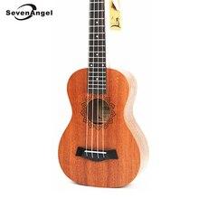 SevenAngel 21 Inch Mahogany Ukulele Soprano Travel Guitar Hawaii 4 Strings Ukelele Electric Acoustic Gitar with Pickup EQ