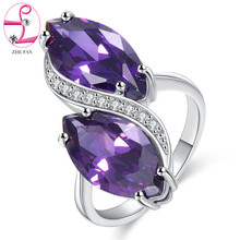 hot deal buy clear garnet amethyst champagne cubic zirconia ring cz diamond jewelry female micro pave women rings for cocktail party