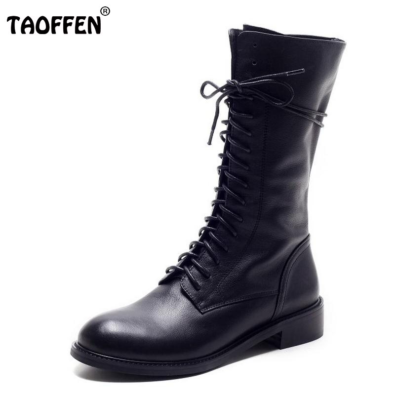 Winter Women Boots Genuine Leather Round Toe Lace Up Half Boots Ladies Flat Botas Mujer Riding Boots Women Shoes Size 34-39 ladies casual lace up flat ankle boots fashion round toe plain cow leather boots for women female genuine leather autumn boots