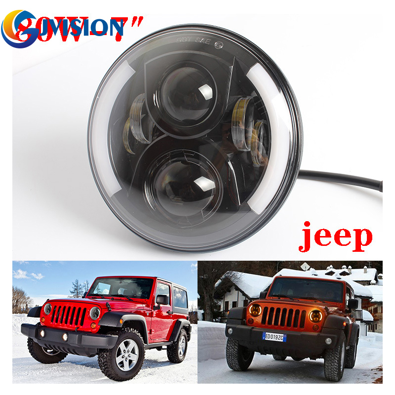 7 Inch Round 60W Hi/Lo Beam LED Halo Headlights Bulb Lamp For Jeep Wrangler JK TJ LJ Hummer H1 H2 LED Headlamp Projector DRL 2pcs new design 7inch 78w hi lo beam headlamp 7 led headlight for wrangler round 78w led headlights with drl