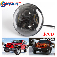 7 Inch Round 60W Hi Lo Beam LED Halo Headlights Bulb Lamp For Jeep Wrangler JK