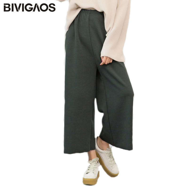 BIVIGAOS New Thread Knit   Wide     Leg     Pants   Women Capris   Pants   Korean High Waist Loose Casual Cropped Trousers Women Fashion