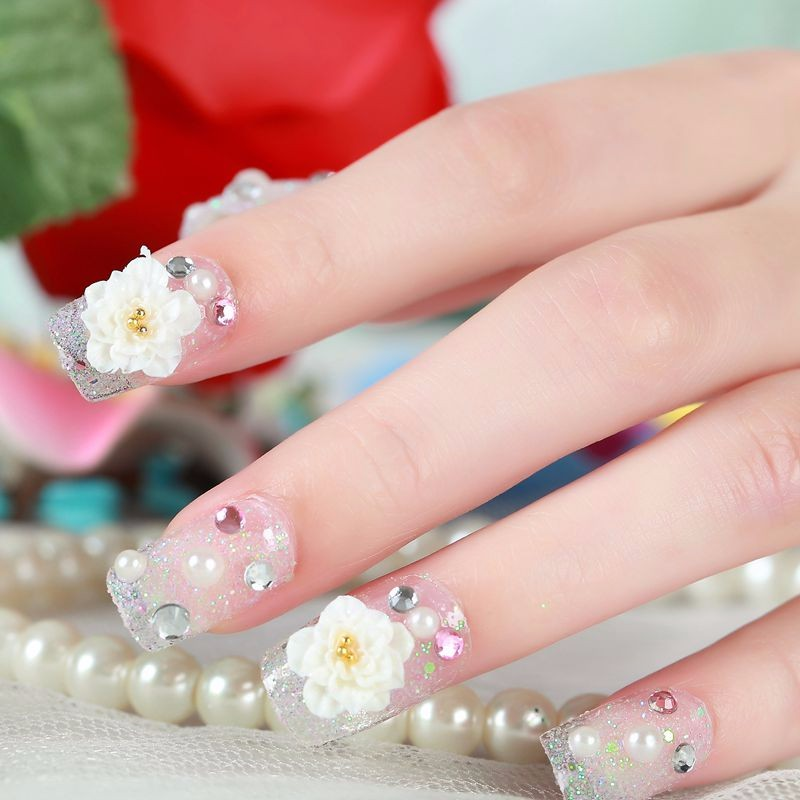 295 2017 Nuevo Excelente Hermoso Diamante De Imitación Flores Francesas Cabeza Cuadrada Bling Decoración Manicura 3d Uñas Falsas Novia F038 In Uñas