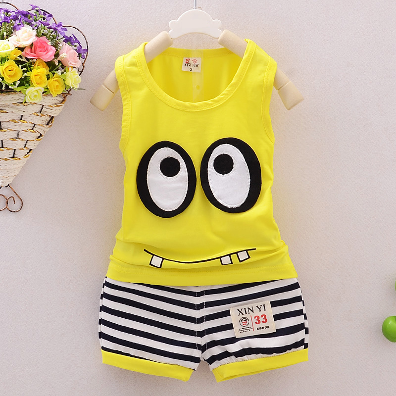 Newborn Baby Clothes 0-24M Infant Boys Girls Baby Sets Summer Sleeveless Cartoon Eye Tops +Striped Shorts Kids Clothing Suit D10 2018 summer baby girls clothing flower tops and tutu skirts 2pcs baby set newborn baby girl clothes infant girls sport suit