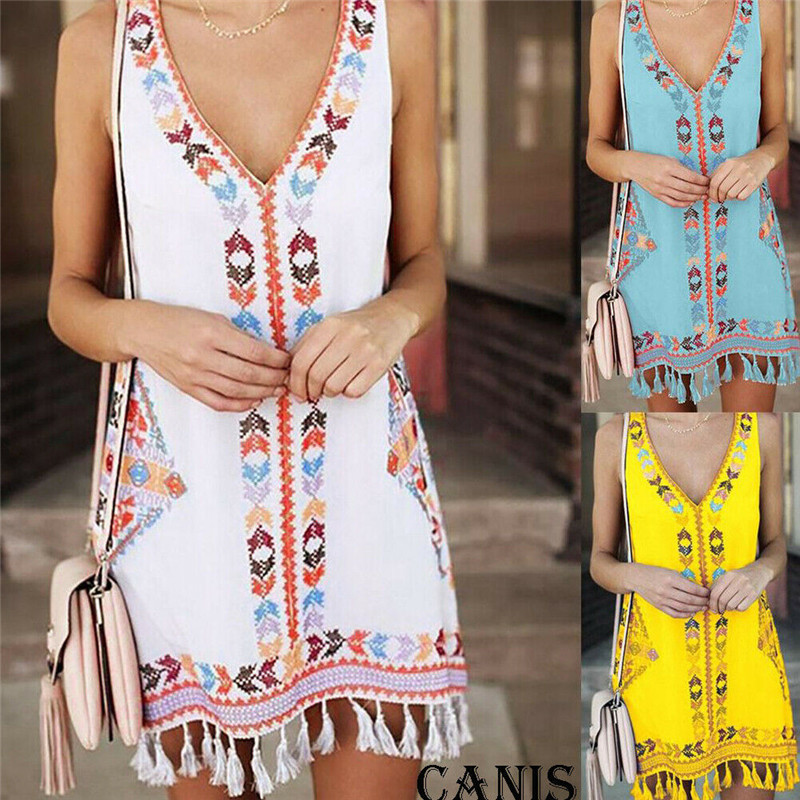 blusas mujer de moda 2019 women's summer sundress Boho Short Mini Dress Party Beach Dress