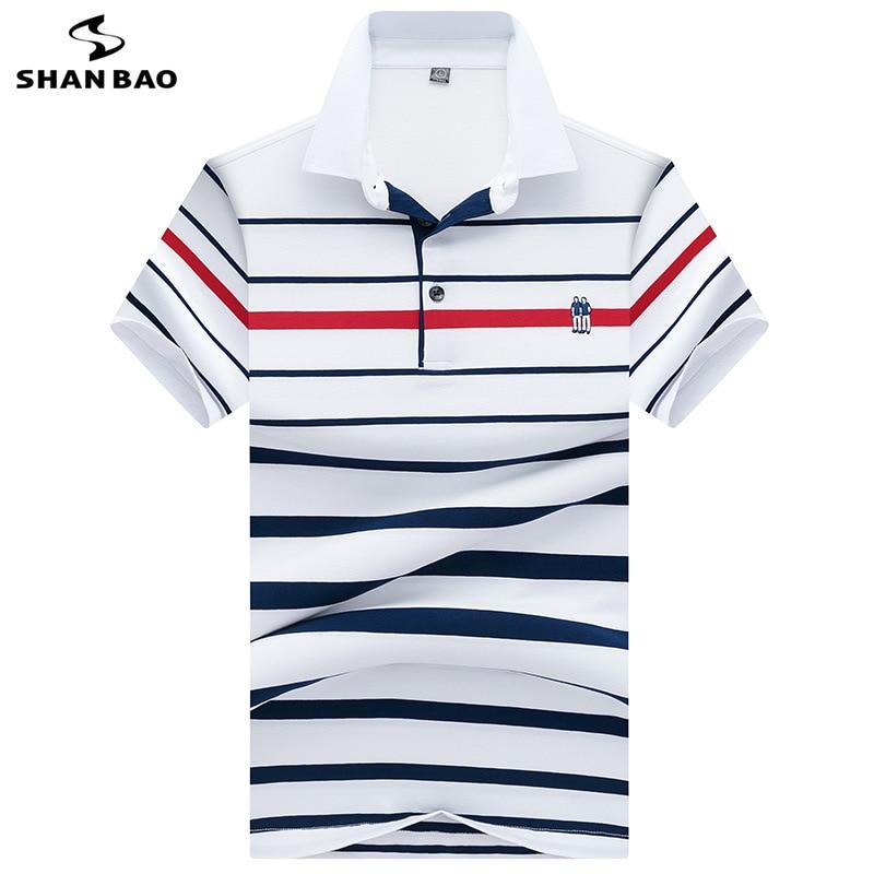 SHANBAO High Quality Cotton Summer Short Sleeve Polo Shirt British Style Casual Men's Fashion Lapel Stripe Polo Shirt