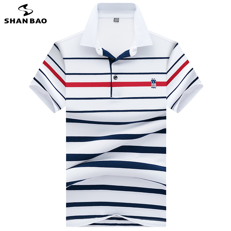 SHANBAO High Quality Cotton Summer Short Sleeve   Polo   Shirt British Style Casual Men's Fashion Lapel Stripe   Polo   Shirt